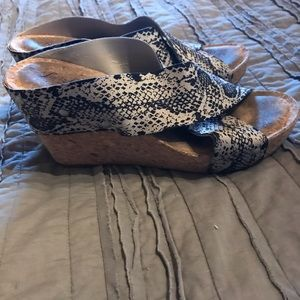 Lucky snake print wedge sandals